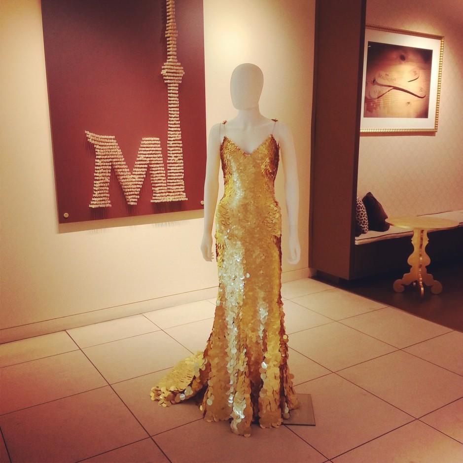 24-karat gold dress designed by Zac Posen.